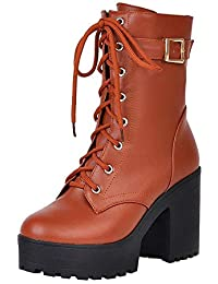 91927aecb4a24 Zapatos con Cordones Mujer Botas Plisadas Mujer Botas Efecto Arrugado para  Mujer Botines De Mujer De