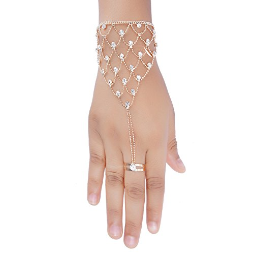 Aaishwarya Party/Wedding Look Crystals Studded Glittering Chain Ring Bracelet/Hand Harness for Women...