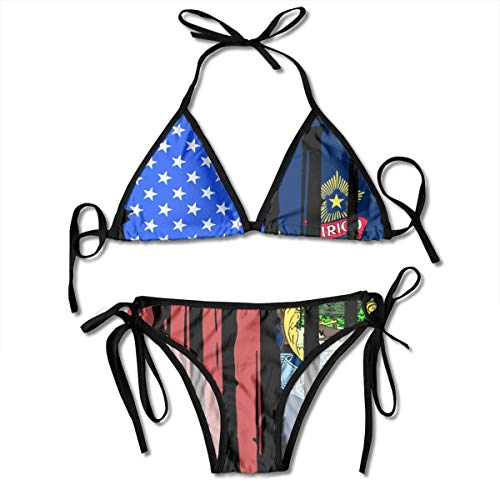 Fashion Sexy Womens American Half Maine State Flag Printing Bikini Set Adjustable Bathing Suits -