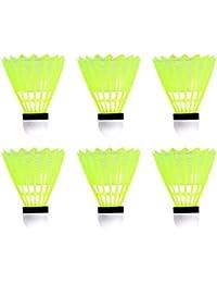 LIOOBO Volantes de Bádminton de 6 Piezas Volantes de Plástico Deportivos Pelotas de Bádminton de Entrenamiento Deportivo para Juegos Al Aire Libre en Interiores (Amarillo)