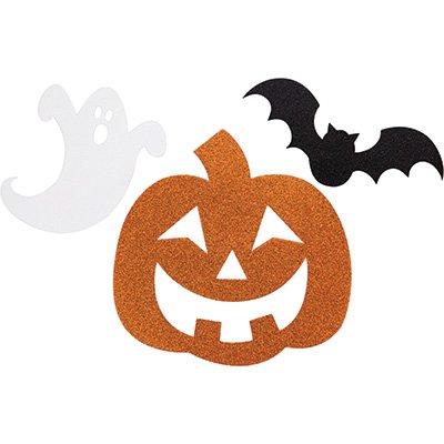 Out Kürbis Für Cut Halloween Den (12 Orangene Schwarze Halloween Glitzer Cutouts mit Fledermaus, Gespenst und)