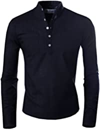 Tom's Ware Chemise Mi-boutonne a Manches Longues Col Henley-Hommes