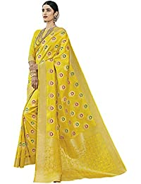 Saree Mall Women's Banarasi Silk Saree With Blouse Piece (Yellow_sarees New Collection_TINYT1007_Free Size)