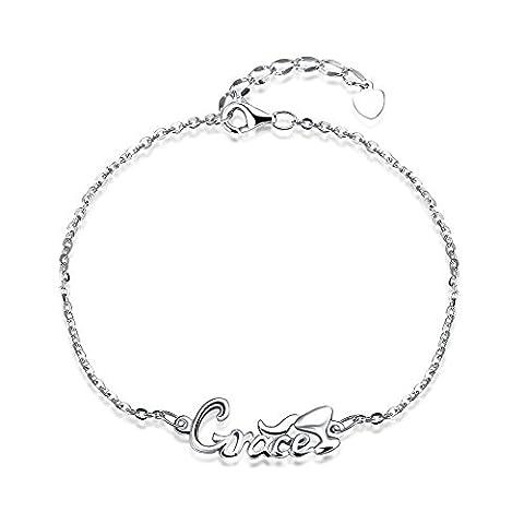 fjyouria Damen-Charm 925Sterling Silber grace Letter Hand Kette verstellbar LINK Armband Länge von 20+ 3cm Verlängerung