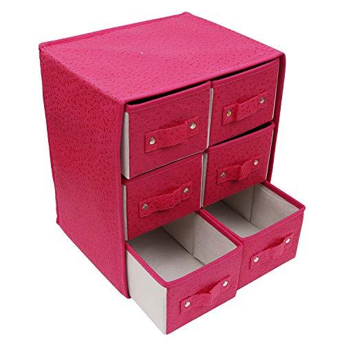 Kurtzy Aufbewahrungsboxen Stoff/Faltbare Aufbewahrungsbox - Schubladenboxen mit 6 Fächern - Schubladenschrank Organisator Einheit für Spielzeug, Schmuck, Make-up, Handwerke und Mehr -