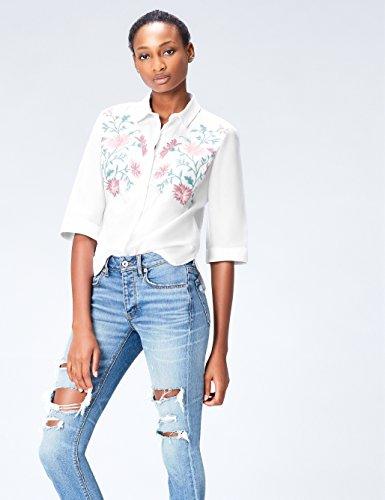 FIND Damen Hemd mit Blumenstickerei und halblangen Ärmeln Weiß (White)
