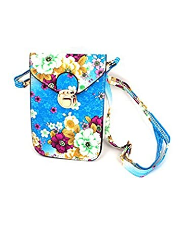 Move&Moving(TM) Faux Leather Flower Printed Push Lock Closure Cross-Body Bag