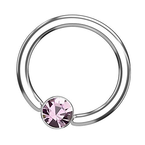 Piersando BCR Piercing Klemmring Ring Flach mit Kristall Klemm Kugel Septum Nasen Lippen Helix Ohr Tragus Silber Rosa 1,6mm x 10mm x 4mm