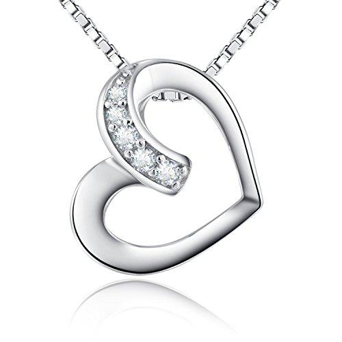 """Herz Anhänger Halskette """"Ich liebe dich bis zum Mond und zurück"""" Liebe Herz Halskette,925 Sterling Silber Tanzen Diamant Herz Halskette,Einfache Mode Herz Halskette,Tanzen Herz Halskette"""
