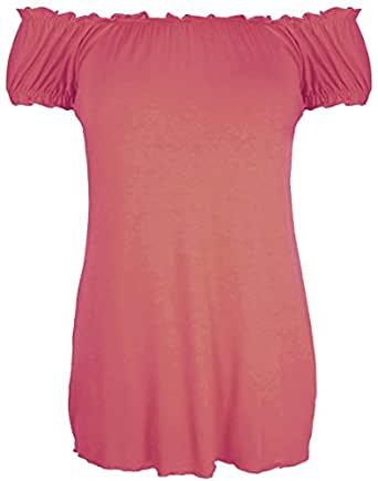 New Womes Off Shoulder Elasticated Plain Boho Ladies Stretch Fit Long Plus Size Gypsy Top (14, Coral)