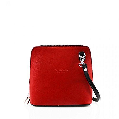 LeahWard® VERA PELLE ITALY GENUINE Cuir Sac À Betoulière Sac Betoulière Petit Sacs (red/Noir H16cm x W18cm x D8cm)