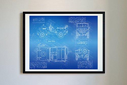 DolanPaperCo #253 Jeep Willys 1942 Kunstdruck, da Vinci Sketch, ungerahmt, Verschiedene Größen/Farben 16x20 Blueprint (Bett Jeep)