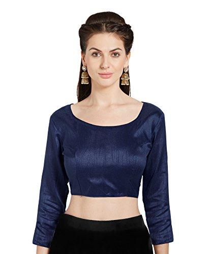 Blaue Saree (Mirchi Fashion Damen Blau Kunstseide Readymade Party Saree Bluse Boot Hals Choli Top)