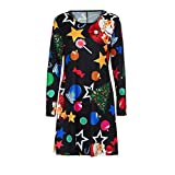Women Merry Christmas Vintage Flare Santa Claus Gown Elk Pullover Mini Musical Notes