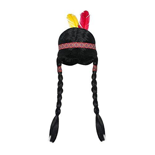 Kostüm Indianer Kind - Kostümplanet Perücke Indianerin Kinder Mädchen mit geflochtenen Zöpfen Haarband Federn