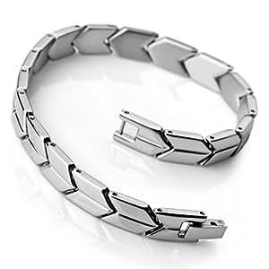 MunkiMix Acier Inoxydable Bracelet Lien Poignet Argent Poli Homme