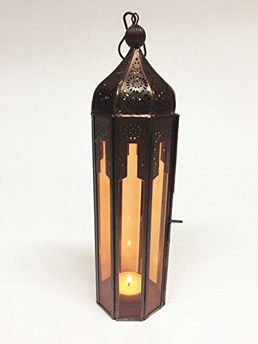 Orientalische Laterne aus Metall & Glas Atira orange 29cm   orientalisches Windlicht   Marokkanische Glaslaterne für innen   Marokkanisches Gartenwindlicht für draußen als Gartenlaterne (Große Marokkanische Laterne Kerze)