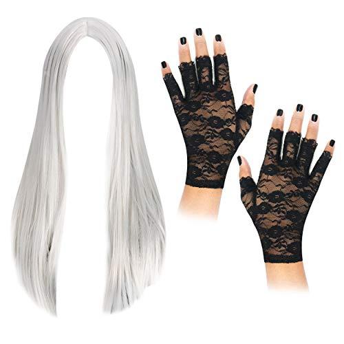 Hexen, Halloween Perücke Lang mit Fingerlose Spitzen-Handschuhe