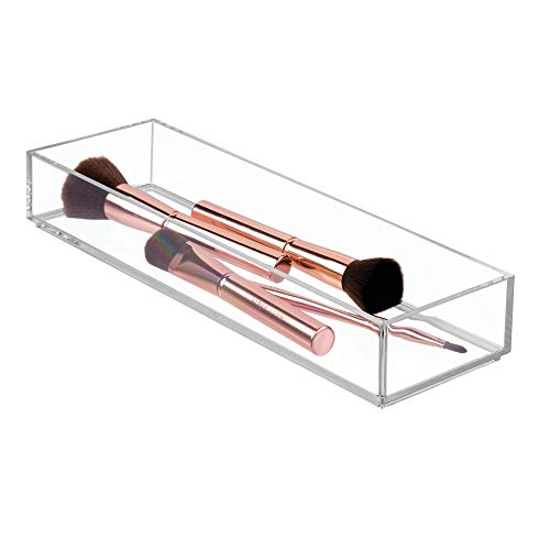iDesign Porta trucchi, Separatore cassetti di misura media impilabile per cosmetici o cancelleria, Portaoggetti bagno cucina o ufficio in plastica, trasparente