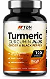 Turmeric Capsules High Strength 1800mg with Black Pepper and Ginger - 120 Capsules