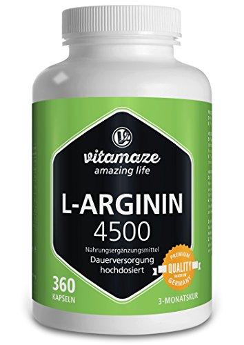 Vitamaze L-Arginin 4500 (Hochdosiert, ohne Zusatzstoffe), 360 Kapseln - 1 Dose