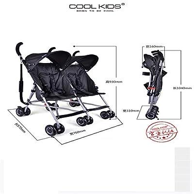 4.95kg Ultra-Light Twins cochecito, cochecito doble portátil, cochecito de bebé para gemelos, 2 asientos paraguas coche para niños