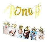 Dusenly 1er Anniversaire Photo bannière Paillettes d'or Une Bannière 1-12 Mois par Mois Bébé Photo Guirlande De Bruant pour Le Nouveau-né À 12 Mois Décorations Premier Anniversaire