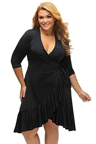 nuovo-da-donna-maniche-3-4-nero-ruffle-wrap-dress-club-dress-ufficio-casual-partito-di-sera-wear-plu