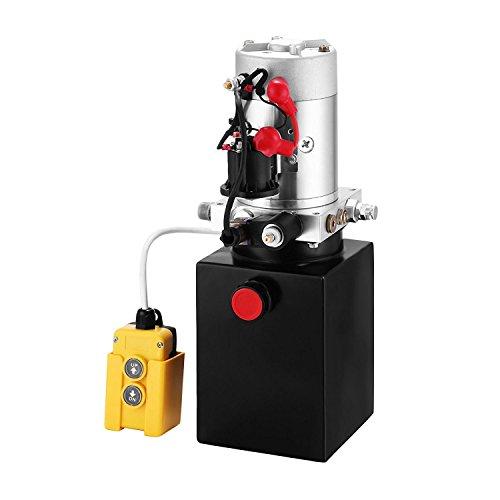 Preisvergleich Produktbild ZauberLu 12V / DC Hydraulikpumpe Einfachwirkend Kipperpumpe Hydraulikaggregat 4L Metallbehältertank Antriebseinrichtung für Auto(4L Einfachwirkend Metallbehälter)