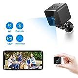 Bluetooth WLAN Mini Kamera, MHDYT HD 1080PWiFi Akku Überwachungskamera, KleineNanny Cam mitBewegungsmelder, InfrarotNachtsichtundBluetooth Lautsprecher, Mikro Wireless Innen/AussenIP Kamera