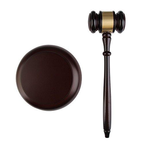 Nelnissa Richterhammer mit Resonanzblock aus Holz, Handgearbeitet, Für Anwälte/Richter/Auktionen