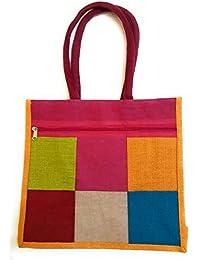 Varshas Super Jute Bag Multi Color Size 37 Cm Length