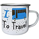 Nuevo I Love Travel Blue Bus Retro, lata, taza del esmalte 10oz/280ml l712e