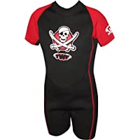 TWF Kids Pirate Shortie Wetsuit - Red, 7-8 Year (Manufacturer size: K3)