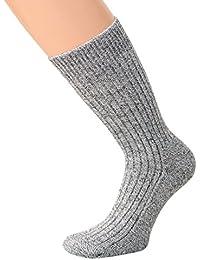 Wollsocken ohne Gummi Wintersocken Herren Damen warme Wollsocken mit Plüschsohle, graumeliert, 3 oder 5 Paar