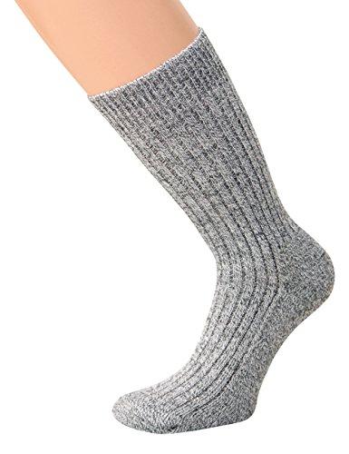 kb-Socken - Wollsocken ohne Gummi Wintersocken Herren Damen warme Wollsocken mit Plüschsohle, graumeliert, 5 Paar, Gr 39-42