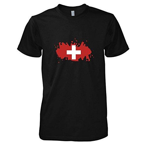 TEXLAB - Splash Schweiz - Herren T-Shirt Schwarz