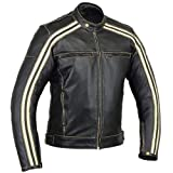 Australian Bikers Gear  Retro Style 'The Bonnie' - Chaqueta de moto, Negro / Blanco, 5XL