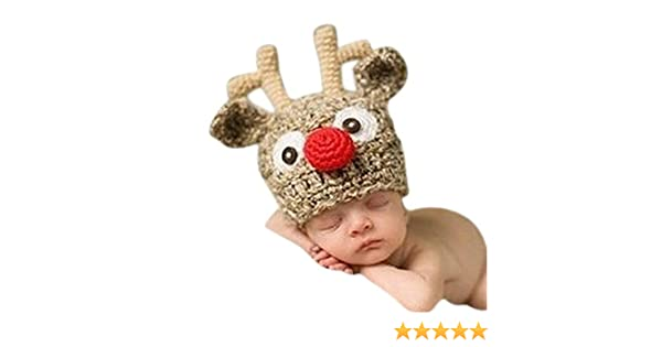 Baby Handmade Knitted Crochet Knit Reindeer Hat Antlers Photo Photography  Prop By Xselector  Amazon.co.uk  Baby 803452cc2997
