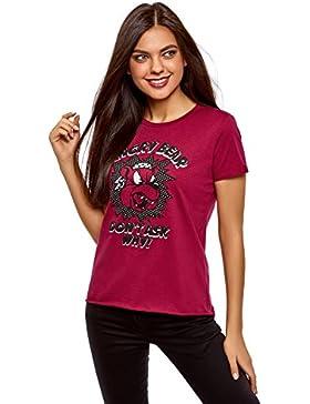 oodji Ultra Mujer Camiseta de Algodón con Estampado y Borde No Elaborado sin Etiqueta