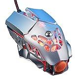 Mumuj Gaming Maus, Gamer Maus V9 2400DPI PC Gaming Maus Hohe Präzision für Pro Gamer mit 6 Programmierbaren Tasten/LED/Ergonomisches Design/USB-Wired Maus Optisch (Silber)
