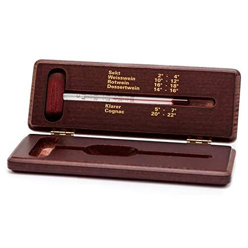 Lantelme Weinthermometer im Holzetui mahagoni lackiert Wein/Schnaps / Cognac/Sekt Thermometer Analog im Holz Etui