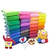Firstly Traders Non-Toxic 12 Different Color Fluffy Foam Clay with 3 Tools, Pack of 36 (3 Piece Each Color) Clay for…
