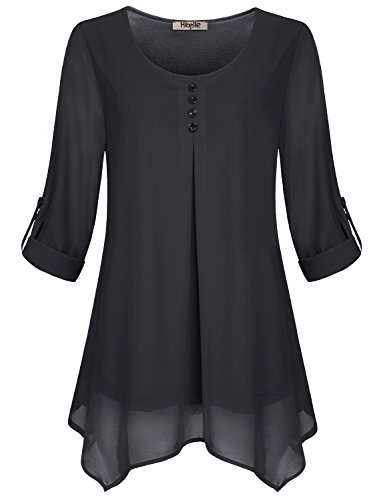 Hibelle Tunika Tops Damen, Juniors Long Shirts Boots-Ausschnitt Cuffed Sleeve Blusen Trapez Flowy Chiffon-Hemd Classy Thin Slim Fit Tägliche Kleidung mit Knopf Herbst Black XXL 2X