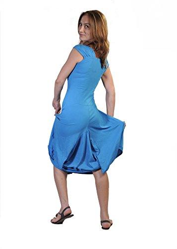 Donne Maniche corte Vitello Lunghezza del vestito con ricamo del fiore stampato sulle tasche. Blu