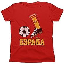 Kids Niños Camiseta unisexo Football Boot T-Shirt ESPANA SPAIN Fan Top