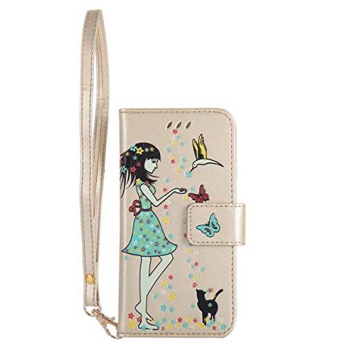 GR Für IPhone 7-Luminous Präge Fairy Girl & Cat Muster Ledertasche, Folio Flip Stand Brieftasche Pouch Case Cover mit Lanyard & Kartensteckplätze & Bilderrahmen ( Color : Blue ) Gold