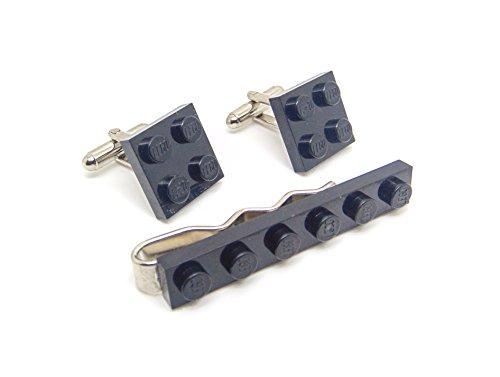 Véritable Noir Lego plaque Pince à cravate et boutons de manchette - Funky rétro Cool Boutons de manchette fabriqué par Jeff Jeffers