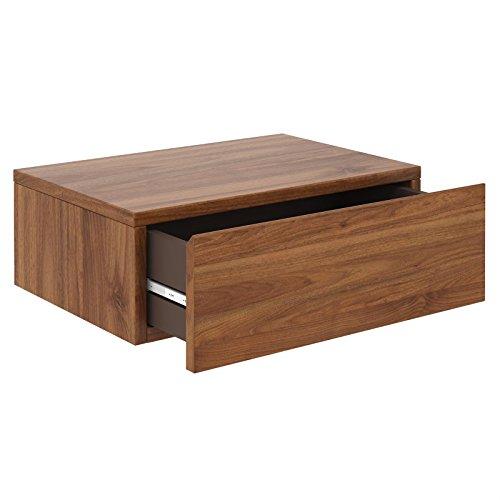 Breit Nussbaum (CARO-Möbel Wandregal Anne hängende Nachtkommode Wandboard Nachttisch mit 1 Schublade schwebend, grifflos, in nussbaum)