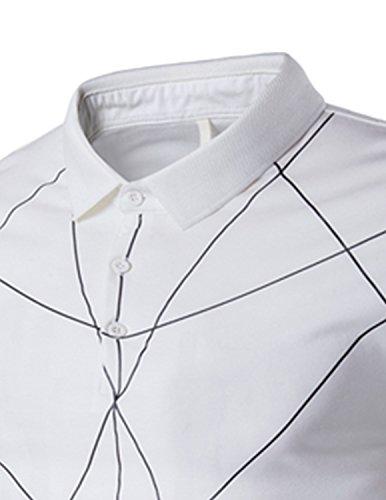 YCHENG Magliette Polo da Uomo Manica Corta Floreale Slim Fit Casuale Sport T-shirt Poloshirt Bianco